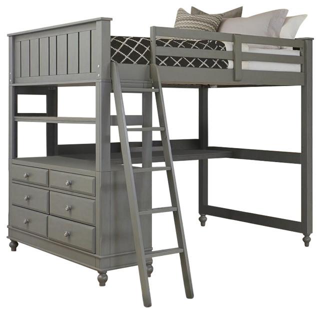 Rosebery Kids Full Loft Bed With Desk, Stone