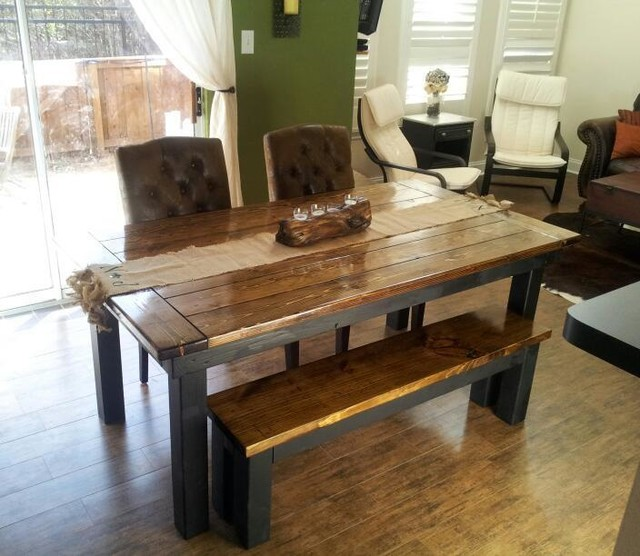 High Quality James+James 6u0027 Farmhouse Table In Dark Walnut And Black, With Endcaps.