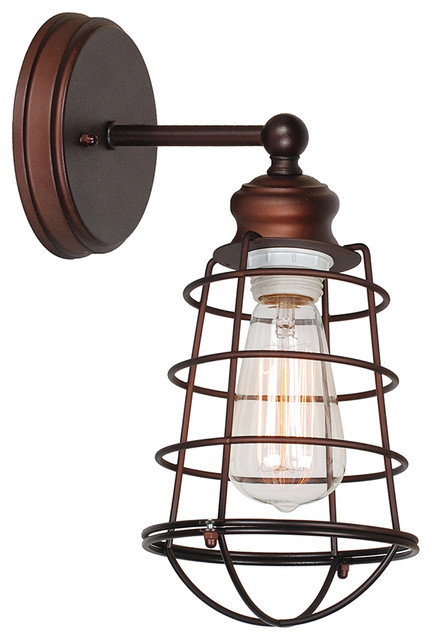 Ajax 1-Light Indoor Wall Sconce With Metal Wire Cage, Coffee Bronze