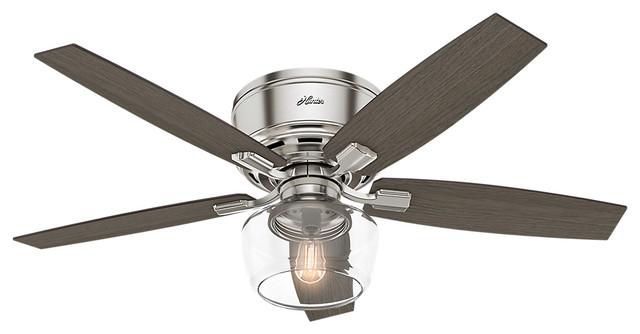 """Hunter Fan Company 52"""" Bennett Low Brushed Nickel Ceiling Fan, Light/Remote"""