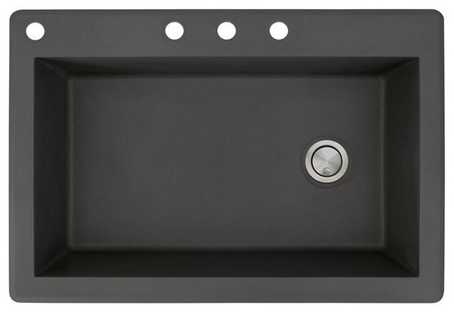 33-In X 22-In Drop-In Radius Granite Kitchen Sink In Black.