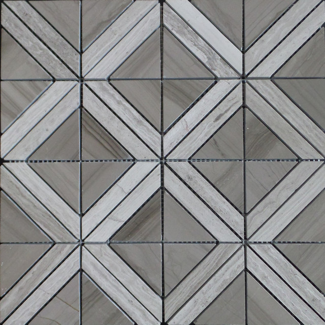 Triangle With Strip Marble Mosaic Tile Wood Gray Beige Insert 11 Sheets
