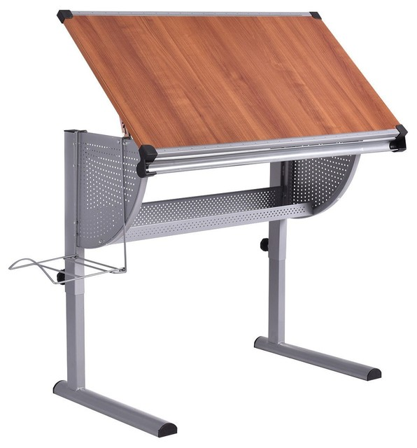 Adjustable Modern Style Drafting Table Drawing Desk Art And Craft, Yellow.
