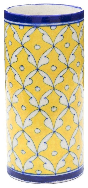 Blue Pottery Vase, Yellow and Blue