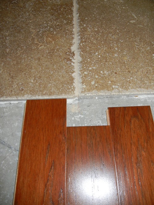 - Transition - Travertine To Engineered Wood Flooring