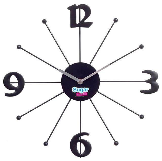 Shopping Wall Clock in Black