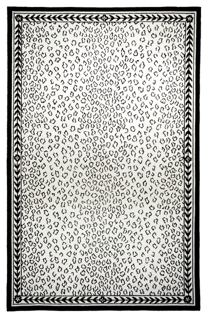 Marbella Hand Hooked Rug White Black 1 8 Quot X2 6