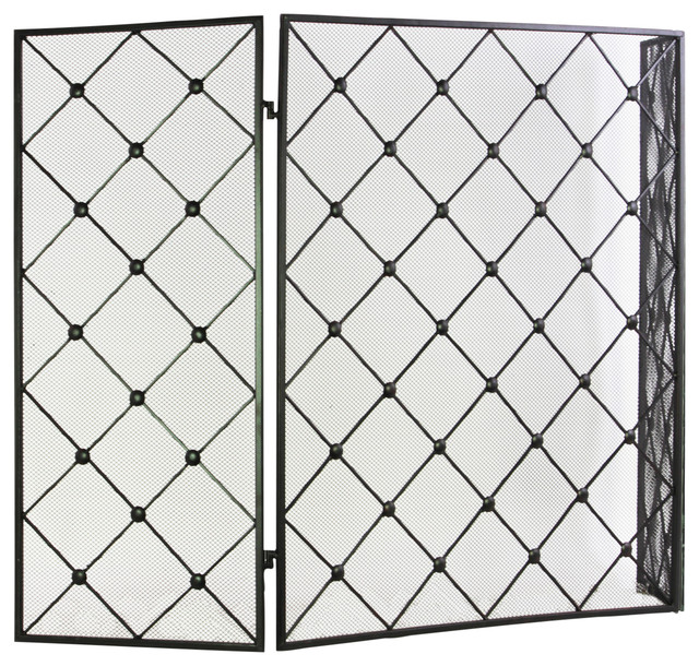 "Metal Hinged Fireplace Screen With ""diamond Mesh"" Design."
