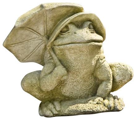 Bumbershoot Frog, Campania Cast Stone Animal Statue Garden Art Transitional  Garden Statues