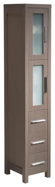 fresca torino gray oak tall bathroom linen side cabinet