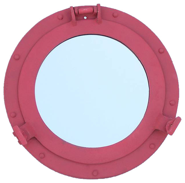 Rustic red aluminum deluxe class decorative ship porthole for Porthole style mirror
