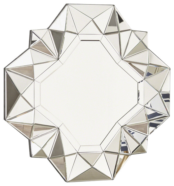 Easter Geometrical Square Silver Finished Wall Mirror.