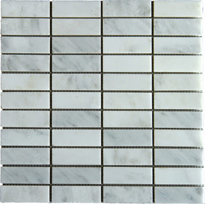 Stacked 1x3 Arabescato Carrara Marble Mosaic modern kitchen tile