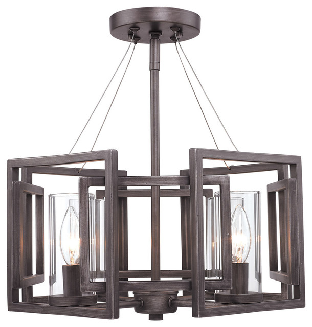 Marco Semi-Flush, Convertible, Gunmetal Bronze With Clear Glass.