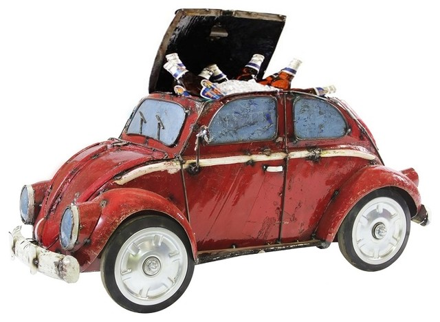 Think Outside Red Vw Beetle Bug Coupe Car Metal Cooler With Functional Wheels