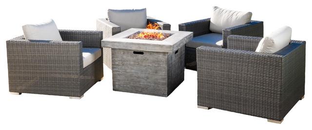 "Soleil Outdoor 5 Piece Wicker Club Chair Set, Sunbrella Cushions, 32"" Fire Pit,."
