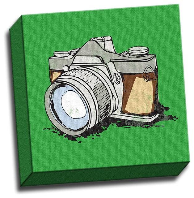 Minimalist Camera 12x12 Colorful Art Printed on Canvas Framed Ready ...