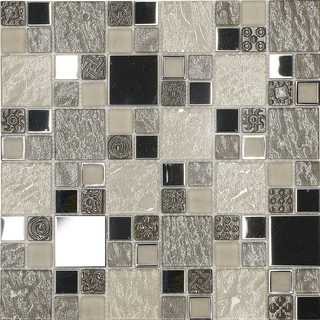 "Beige Metal Textured Glass Mosaic Kitchen Backsplash Tile, 12"" X 12"" Sheet - Contemporary ..."