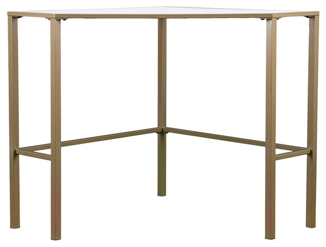 Keaton Metal/glass Corner Desk - Matte Khaki.