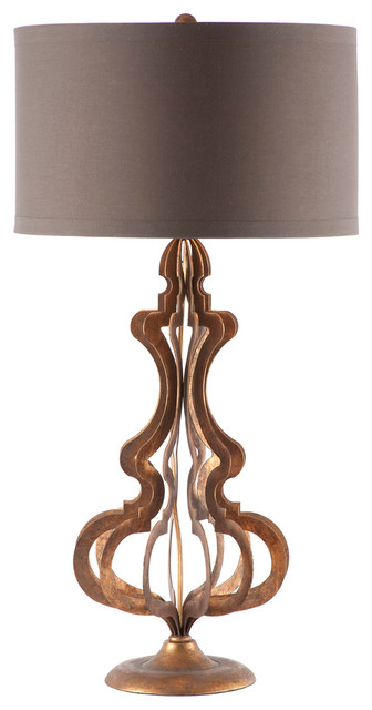 Pair Urban Chic Wire Frame Aged Gold Urn Table Lamp.
