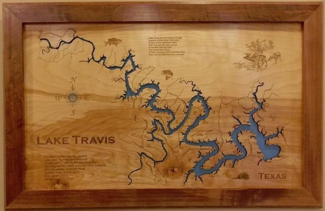 Wood Map Wall Hanging, Lake Travis Texas, Framed, Large - Rustic ...