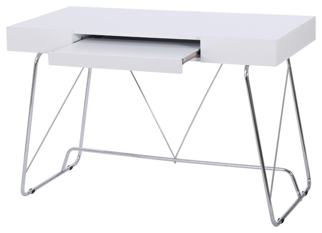Denise Austin Home Lauren White Wood Computer Desk With Keyboard Tray Contemporary Desks And