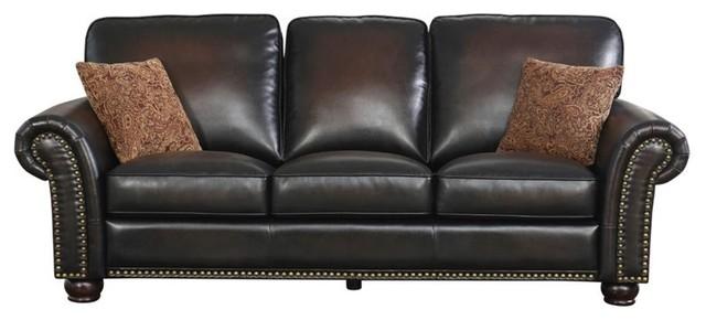 Abbyson Living Braxton Bonded Leather Sofa Brown Sofas