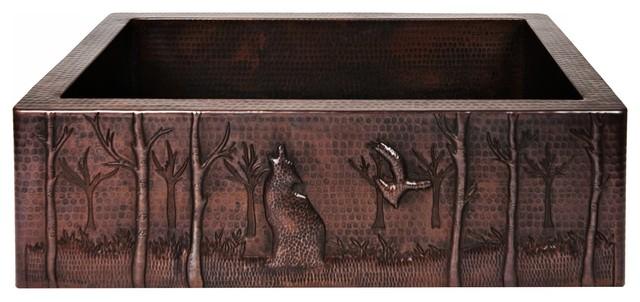 "Timberwolf Custom Copper Farmhouse Sink, 33""."