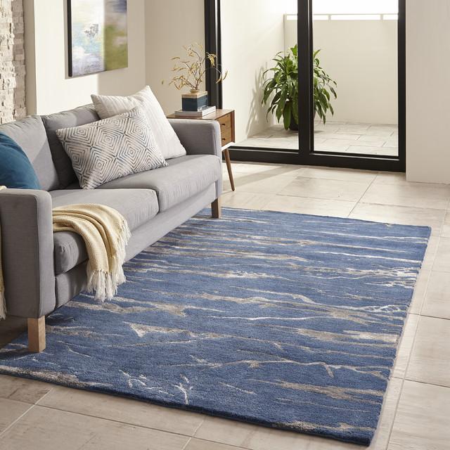 Zen Wool Blend, Hand-Tufted Rug, Cobalt, 8'x11'
