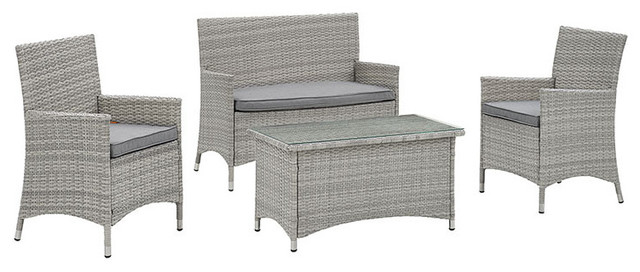 Bridge 4-Piece Outdoor Patio Conversation Set, Light Gray/gray.
