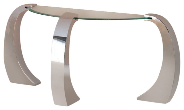 Coaster Custer Contemporary Sofa Table With Metal Base and Curved Glass Top