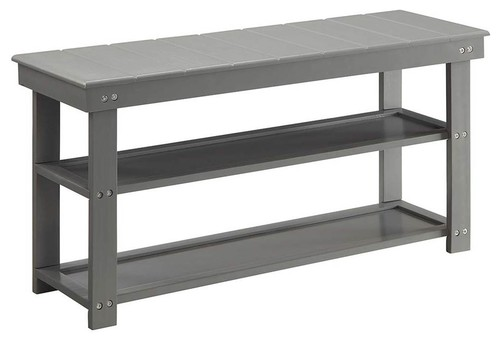 Utility Mudroom Bench in Gray Finish