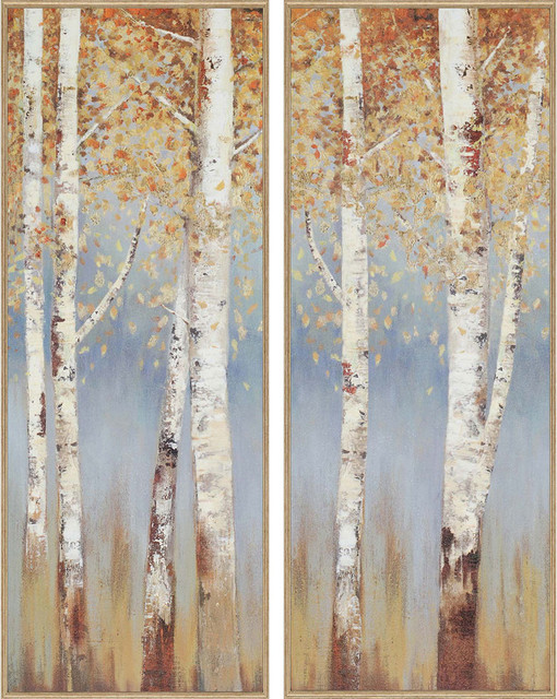 Paragon Scenic Traditional Birch Trees Pack of 2 Wall Art ...