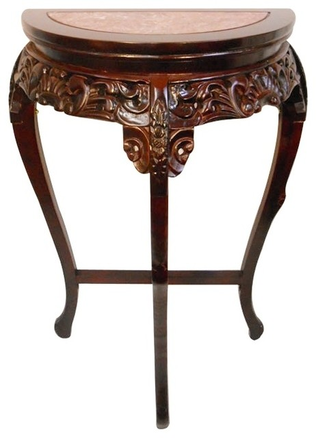 Marble Top Half Moon Floral Carved Wooden Hall Table Asian Side