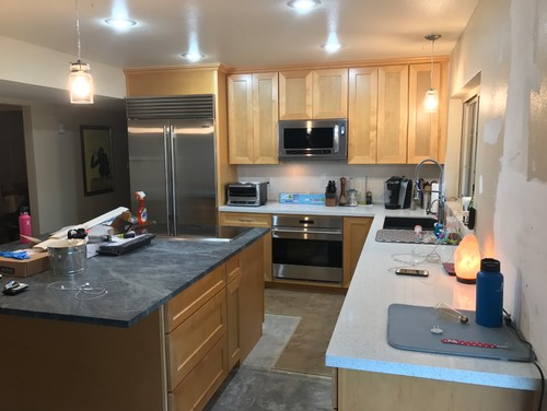 Need help with backsplash to finish kitchen remodel Soapstone Countertops With Slate Floors Html on