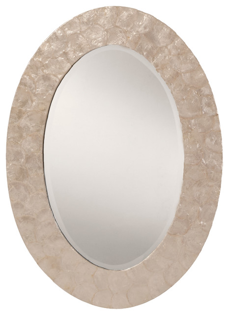 Osp Designs Rio Beveled Wall Mirror With White Mother Of Pearl Oval Frame.