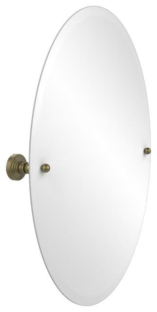 Bathroom Mirrors Oval Tilt Mirror frameless oval tilt mirror with beveled edge - transitional