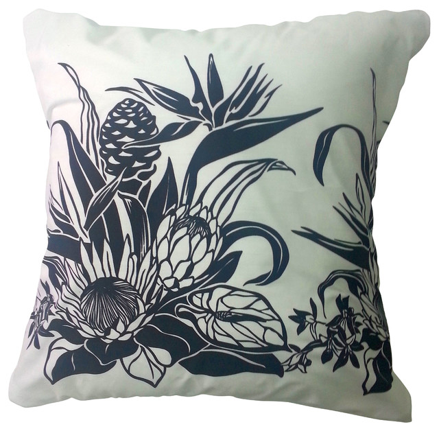 Decorative Pillows With Bird Design : BohoCHIC Maui Bird of Paradise Hawaiian Pillow Cover, White Black Cover Tropical Pillow, Decor ...