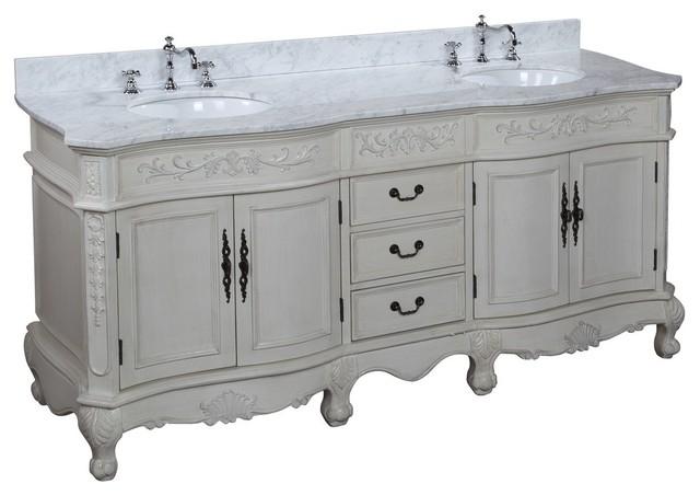 "Versailles Cream Bath Vanity, 72"", Top: Carrara Marble, Double Vanity."