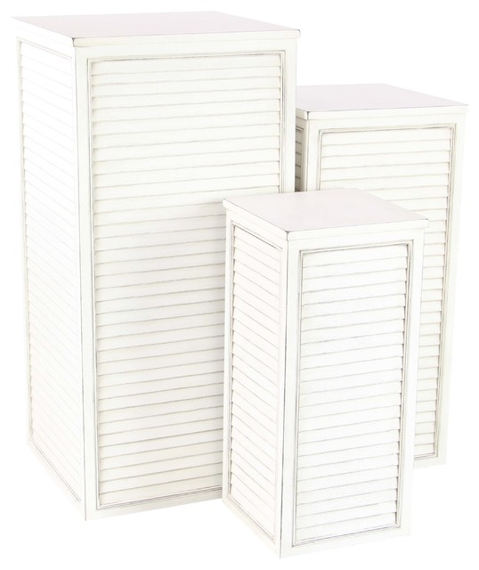 Farmhouse Square Tower Pedestals With Louvered Design, 3-Piece Set, White.