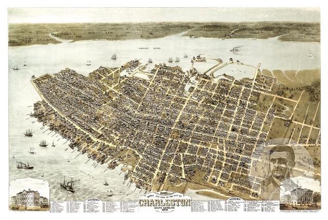 Vintage South Carolina Map.Historic Charleston Sc Map 1872 Vintage South Carolina Art Print