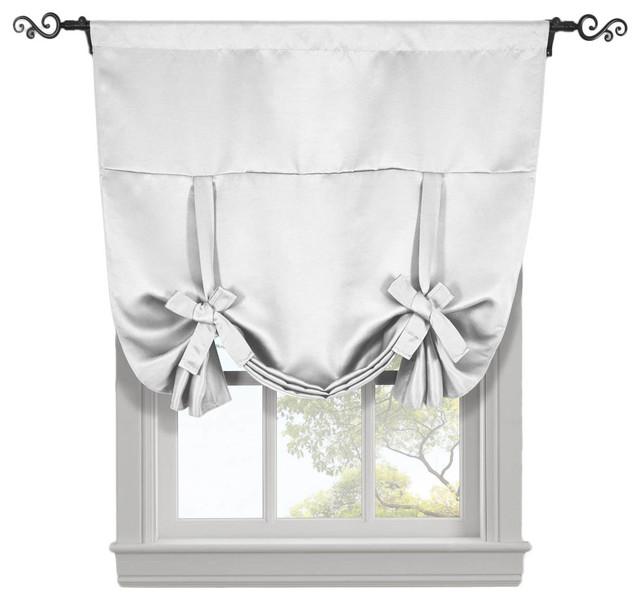 Ava Blackout Curtains Rod Pocket Tie Up Shade, Grayish White, 46x63.