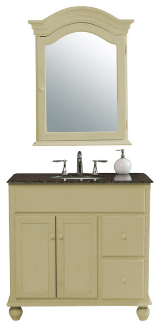 36 Yellow Cream Single Sink Vanity With Baltic Brown Granite Top And Mirror Transitional