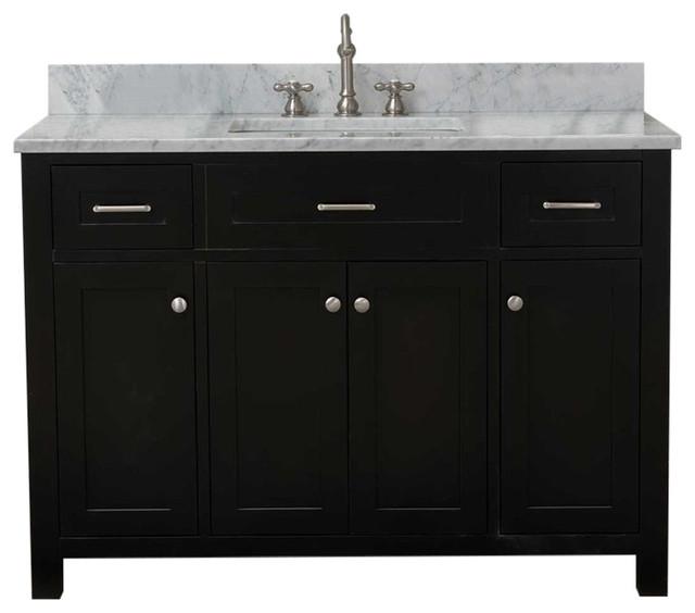 """Cabinet Mania Espresso Shaker 48"""" Bathroom Vanity With Marble Top."""