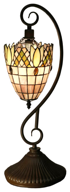 "Warehouse Of Tiffany Arizona 1 Light Pink 22"" Tiffany Style Table Lamp."