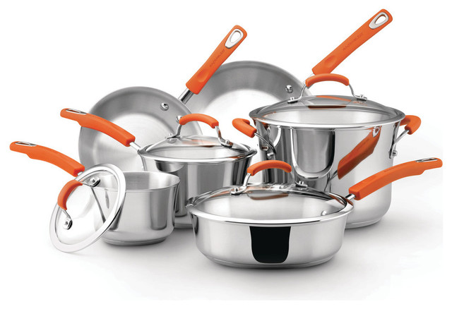 Stainless Steel 10-Piece Cookware Set, Silver With Orange Handles
