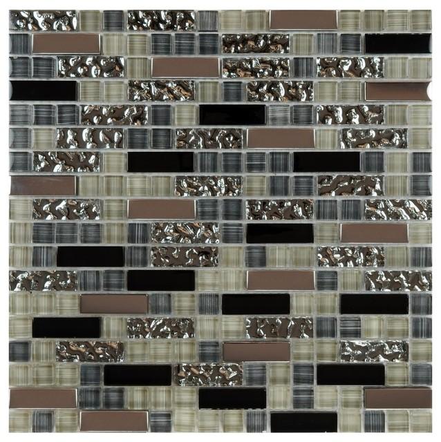 "Contemporary Wall Tile 12""x12"" metal stone glass mosaic kitchen backsplash bathroom tile"