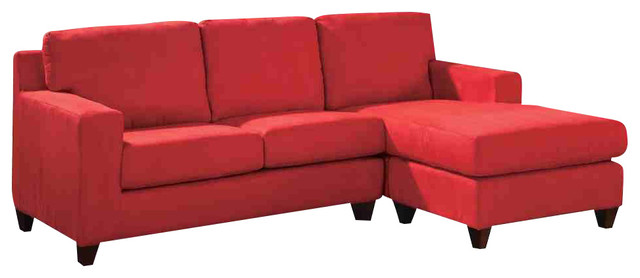 Vogue Red Microfiber Sofa Sectional Reversible Chaise Transitional Sectional  Sofas