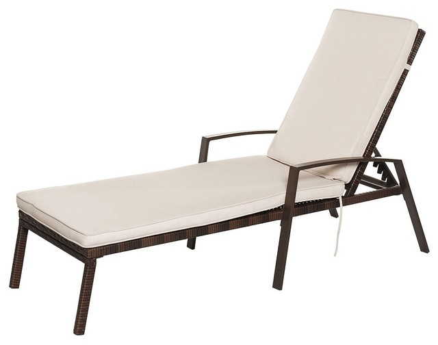 Modern 2-Pieces Patio Rattan Adjustable Back Lounge Chair.