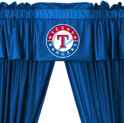 Mlb Texas Rangers 5 Piece Curtains And Valance Set